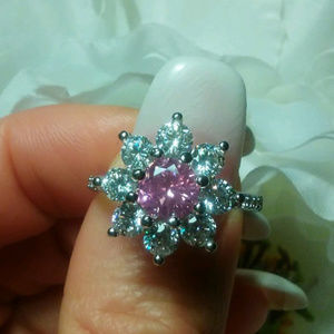 2ct Flower Ring Genuine Pink and White Sapphires